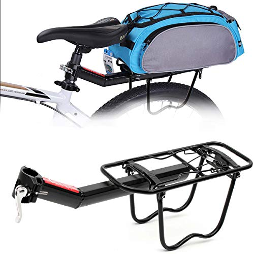 BTTHWR Bicycle Cargo Rack, Universal Rear Bike Carrier Rack Frame-Mounted Heavy Duty Bike Luggage Cargo Rack Barries Up to 55lbs