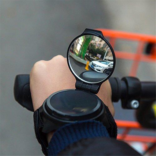 Preisvergleich Produktbild AKAUFENG Rückspiegel für Fahrrad / E-Bike / Roller / Mofa / Rollstuhl / Rollator / Kinderwagen Fahrradrückspiegel (Schwarz)