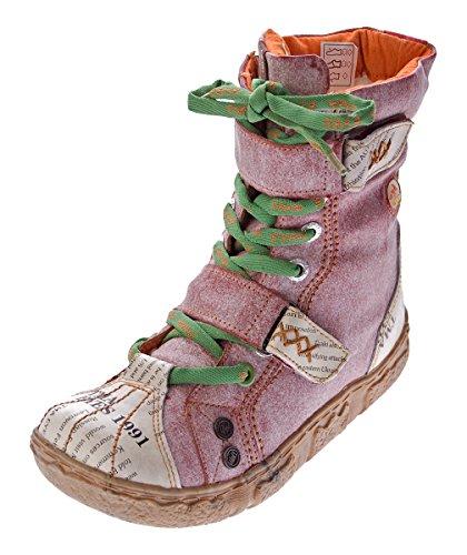 TMA Damen Leder Stiefeletten 7087-N Knöchel Schuhe gefüttert Winter Stiefel Rot/N Used Look Gr. 39