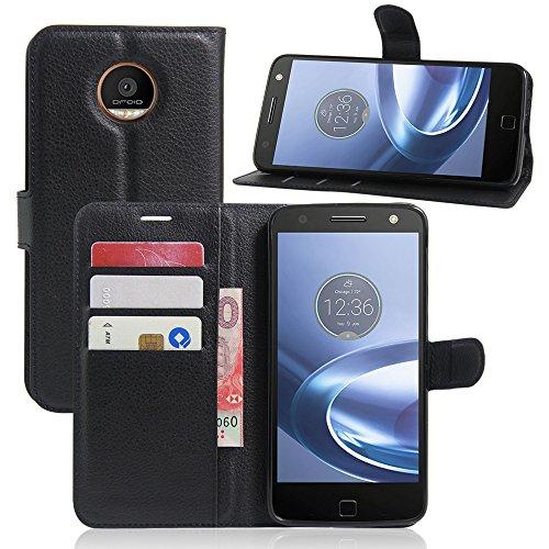 Motorola Moto Z Force Cases TopAce High Quality Leather Case Flip Cover For Motorola Moto Z Force (Black)
