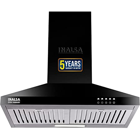 Inalsa 60 cm, 1050 m3/hr Kitchen Chimney Enya BKBF with Stainless Steel Baffle Filters, Push Button Control, (Black) (Cooker Hood Enya 60BKBF)