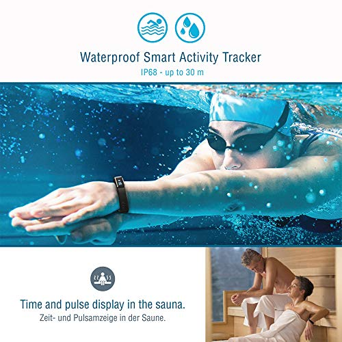 Sharon Fitnessarmband Pulsuhr, Schrittzähler und Schlaftracker, Weckfunktion, Saunafest und Wasserdicht (IP68), Smartphone kompatibel für iOS und Android - 6