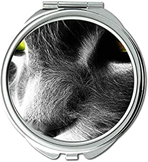 Compact Mirror Round Compact Mirror Double-sided,Cat artwork mirror for Men/Women,1 X 2X Magnifying