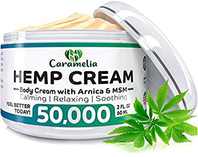 Hemp Cream for Pain Relief - 50,000 Hemp Extract Blend - Natural Pain Relief Cream for Joint, Muscle, Sciatica & Back Pain - Made in USA - Formulated with MSM, Emu Oil, Menthol & Omega 3-6-9 from Caramelia