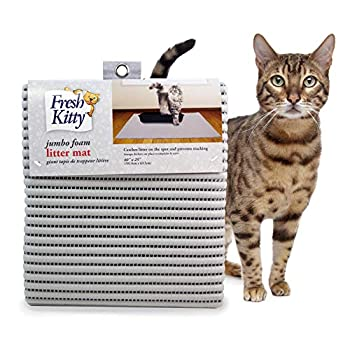 Fresh Kitty Durable XL Jumbo Foam Litter Mat – Phthalate and BPA Free Water Resistant Traps Litter from Box Scatter Control Easy Clean Mats – Gray Model Number  9051