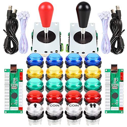 EG STARTS 2 Piezas de Arcade LED para Jugadores DIY Codificador USB 2X Elipse Óvalo Joystick de Estilo 20x Botones de Arcade LED para PC Sistema de Windows Raspberry Pi MAME (Mixed Color Kit)