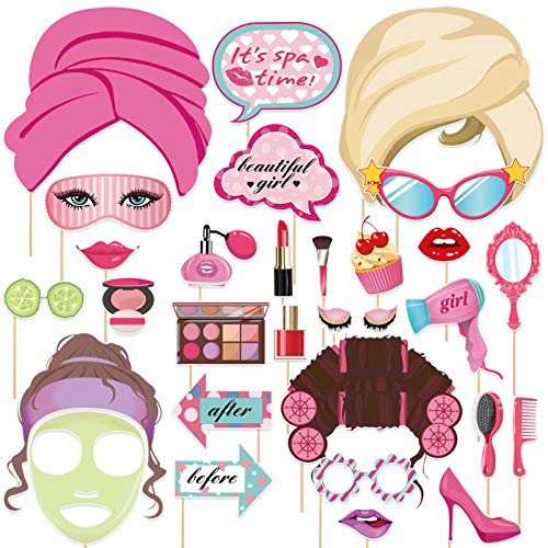 Amosfun Spa Tag Foto Booth Requisiten Make-Up Selfie Requisiten Spa Thema Hintergrund Dekorationen Spa Thema Geburtstagsfeier Liefert 30 Stück