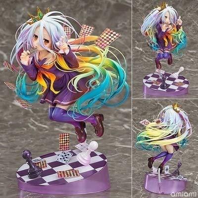 TQGG NO Game NO Life: Shiro PVC Figur, Anime Hübsches Mädchen Spielkarten Handgemachtes Modell Otaku Und Anime Fans lieblings, erwachsenes Spielzeug Weihnachten Hohe 19 cm, Boxed