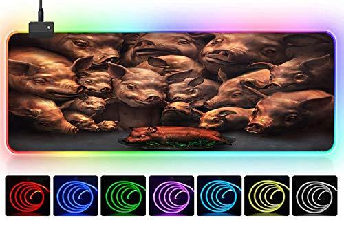 gaming beleuchtung Schwein Monster Braten Spanferkel beängstigend schwarze Persönlichkeit Alternative Mauspad große XXL elektronische Cartoon-Spiel Anime Mädchen Spiel Mauspad kreative Tischset