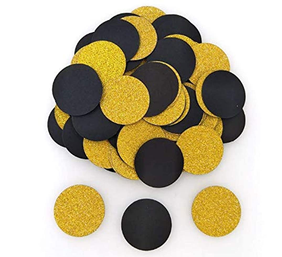 Joe&Lory 400 Pics Glitter Paper Confetti, Gold And Black Circle Dots,Wedding Party Decor and Table Decor, 1.2'' in Diameter