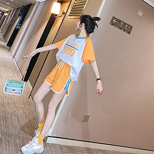 ArcherWlh Legging Joggers,Pantalones Cortos de Mujer de Gran tamaño Traje Deportivo Traje Suelto de Verano Ropa de Yoga Nuevo Han Fan Ocio Torrendo Marea de Dos Piezas-Amarillo_L