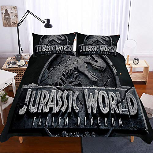 AHJJK Duvet cover set 55 x 79 inchDinosaur sculpture 3D Printed Microfiber Bedding Duvet Cover with 2x Pillowcases & Zipper Closure Quilt Case for Boy Girl Single Double King Bed