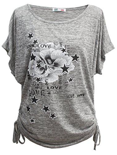 Emma & Giovanni - Sommer T-Shirt/Oberteile Kurzarm - Damen (# Grau, M/L)