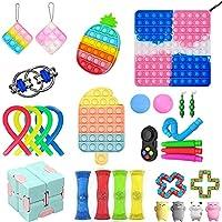 プッシュバブル感覚フィジェットおもちゃ、自閉症の特別なニーズのストレスリリーフシリコンおもちゃ、30 個のスクイーズおもちゃパック、子供、大人 (パイナップル)