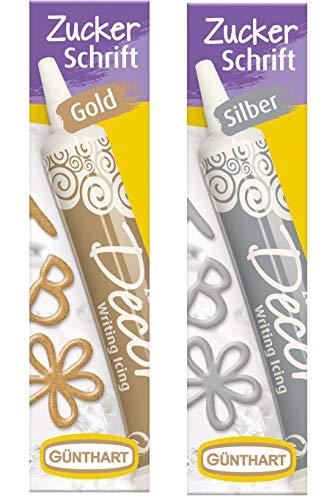 Günthart Zuckerschrift | Dekoration für Kuchen, Kekse und Torten | Decor Set | gold, silber | 2x25g