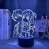 3D Illusion Lamp Ilustración de Sword Art Online,3D LED Luz Nocturna para Niños, 7 Colores Cambian con Control Remoto, Regalos para Niños Niñas