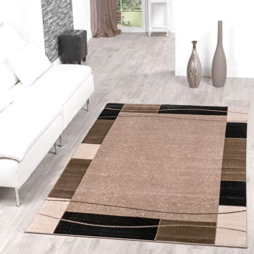 Teppich Günstig Bordüre Design Modern Wohnzimmerteppich Beige Schwarz Top Preis Größe: 160x220 cm
