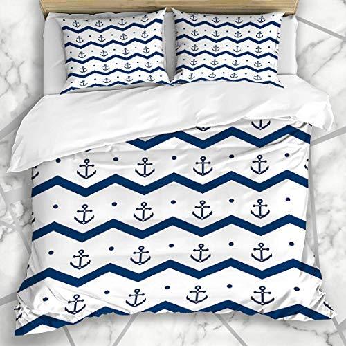 HARXISE Ropa de cama - funda nórdica Ancla Patrón azul marino Anclas de Chevron Azul Blanco Barco Náutico Aventura Barco Libro Crucero Diseño Pesca Microfibra de tres piezas Funda de edredón 200 * 200