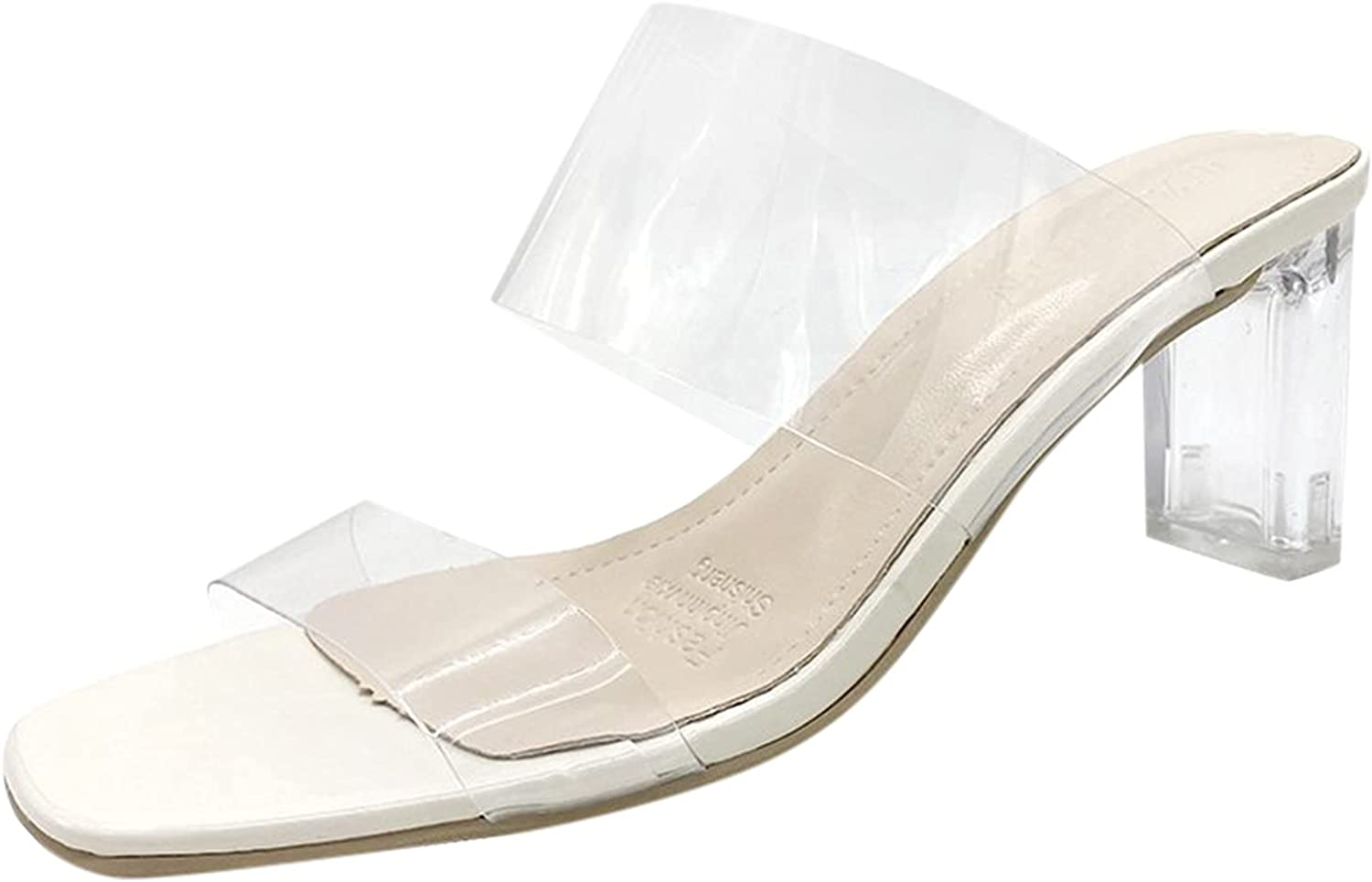 PGOJUNI Heeled Sandals Department store for Women Square Stile Special Campaign Toe Clear