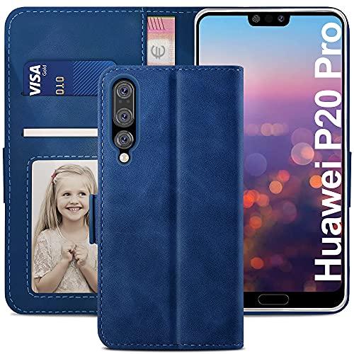 YATWIN Funda Huawei P20 Pro, Cuero Premium Flip Folio Carcasa para Huawei P20 Pro, Bloqueo RFID, Soporte Plegable, Ranura para Tarjeta, Cierre Magnético, Funda Libro para Huawei P20 Pro, Azul
