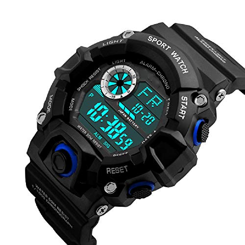 YHDQ heren outdoor sport horloge, waterdicht horloge, multifunctionele bergbeklimmen, student elektronisch horloge, size, Blauw