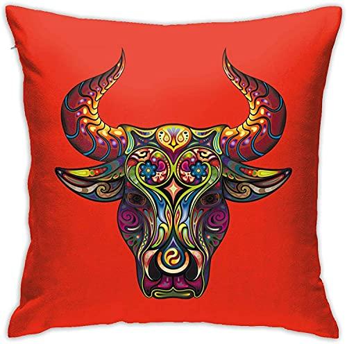 BONRI Funda de Almohada, Funda de Almohada con diseño de Toro, Funda de Almohada Decorativa, cojín Cuadrado para sofá, Coche, 18x18