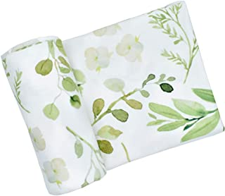 Newborn Baby Swaddle Blanket, Watercolor Floral Print Oversized Super Soft Large Receiving Blanket for Infant Boys and Girls (Green Leaf, 86x137cm/33.86x53.94inch)