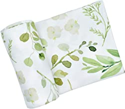 Romiracle Newborn Baby Swaddle Blanket, Watercolor Floral Print Oversized Super Soft Large Receiving Blanket for Infant Boys and Girls (Green Leaf, 86x137cm/33.86x53.94inch)