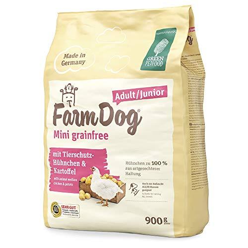 Green Petfood FarmDog Mini Grainfree Junior/Adult (1 x 900 g) | getreidefreies Hundefutter mit Tierschutz-Hühnchen | nachhaltiges Trockenfutter für wachsende und ausgewachsene Hunde | 1er Pack
