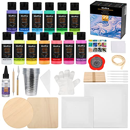 Nicpro 13 Fluorescent Colors Neon Acrylic Pour Paint , Premixed High Flow UV Pouring Painting Bulk Set with Canvas, Wood Natural Slices, Pouring Oil, Strainer, Cups, Art DIY Supplies Kit