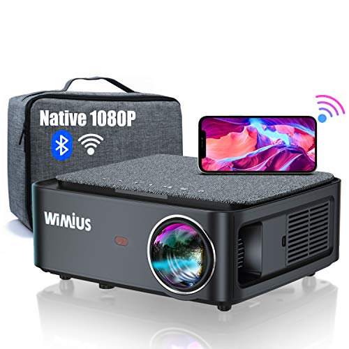 "5G WiFi Bluetooth Projector, WiMiUS K1 7500L Video Projector Native 1920x1080 LED Projector Support 4K, ±50° Keystone, 50% Zoom 400"" Office Software Works with Fire TV Stick PC DVD PS4 Smartphones"