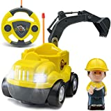 Power Gearz Jr. My First Cartoon RC Toddler Remote Control Car for Boys and Girls, Remote Control Excavator Toy with Lights and Sound for Baby, Toddlers (Yellow Digger)