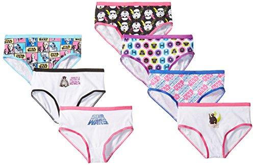 STAR WARS Big Girl's 7-Pack Bikini Brief Underwear Underwear, Southwest Girl/Multi, 8
