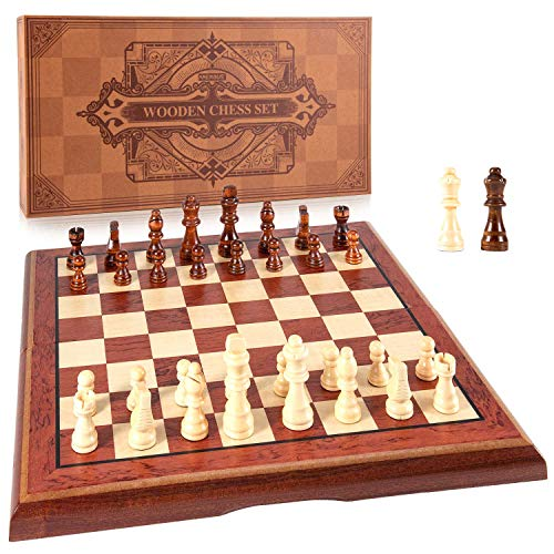 AMEROUS 15'' Magnetic Wooden Chess Set -Folding Board -2 Extra Queens -Chessmen Storage Slots -Gift Package, Travel Chess Board Game Sets, Chess Rules for Beginner - Chess Set for Kids and Adults