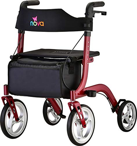 """NOVA Medical Products Express Rollator Walker, Large 10"""" & 8"""" Wheels, Compact Foldable & Free Standing, Easy to Fold, Lift & Carry, Comes with Cane Holder, Red"""