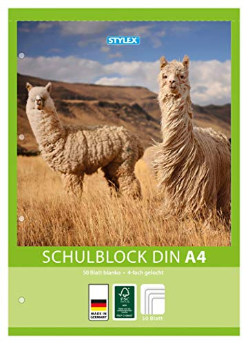10x Schulblock / blanko / DIN A4 / gelocht / 50 Blatt je Block