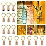 【16 Stück】Nasharia 20 LEDs 2M Flaschen Licht, Lichterkette für Flasche LED Lichterketten Stimmungslichter Weinflasche Kupferdraht, batteriebetriebene für Flasche DIY, Dekor,Weihnachten (Warmweiß, 16)