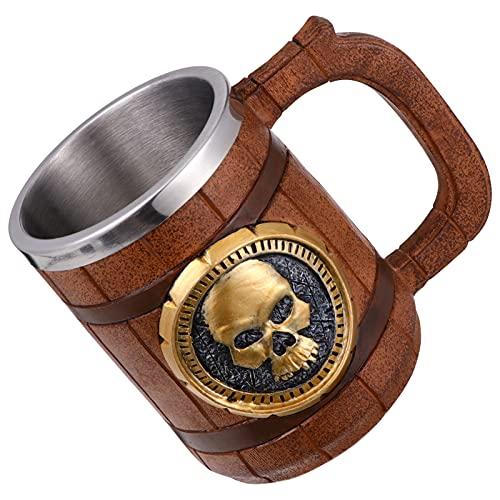 jojofuny 600Ml Taza de Calavera Vikingo Estilo Medieval Taza de Café Esqueleto Acero Inoxidable Delineador Cráneo Guerrero Cerveza Taza para Halloween Fiesta Fantasma Regalo de Broma