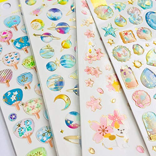 Crystal Epoxy Starry Sky Sakura Eenhoorn Walvis Decoratieve Stickers Zuivel Album Decor Telefoon Fles Diy Stick Label1 vel