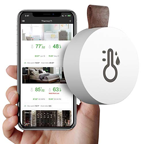 ALLOMN trådlös termometer hygrometer, Bluetooth 5.0 temperatur fuktighetssensor med dataexport varningar för IOS Android APP realtidsinspelningar för vin cigarr barnrum (ingen bild)