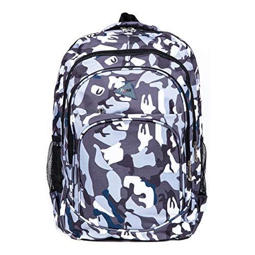 XynK Rucksack für Damen, Herren, Kinder - Schulrucksack mit vielen Fächern und Stauraum– Bagpack Wasserabweisend – Camouflage Grün, Blau, Orange