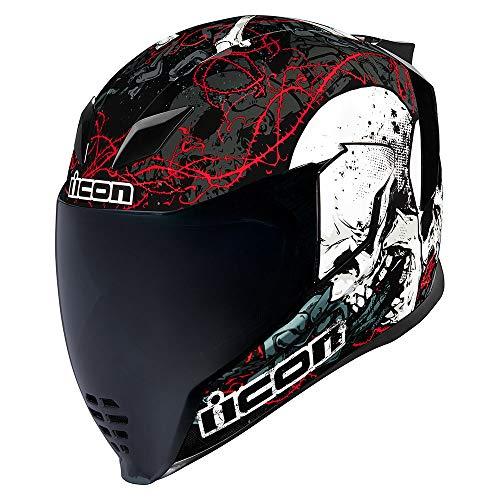 Icon Helm Airflite Skull 18 glanz schwarz Motorradhelm Integralhelm, XL