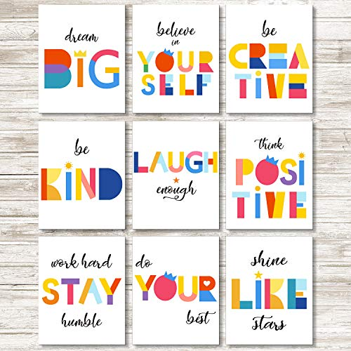 Set of 9 Watercolor Words Inspirational Quote Art Print Motivational Quote Phrases Inspiring Wall Poster Art Painting for Nursery or Kids Room Modern Decoration Unframed