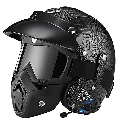 Casco de motocicleta retro de cuero, con máscara de visera Gafas Casco de bicicleta medio abierto para hombres y mujeres Aprobado por ECE/DOT G,L~59-60cm