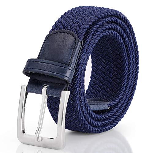 SUOSDEY Elastischer Stretchgürtel Flechtgürtel Stoffgürtel Geflochtener Taillen Gürtel Damen und Herren,Blau,130cm