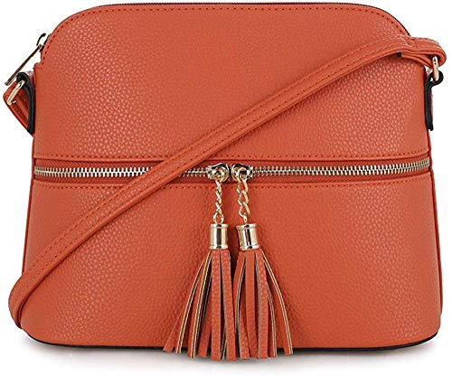 Janin Handbag Lightweight Medium Dome Crossbody Bag with Tassel Zipper Pocket Adjustable Strap