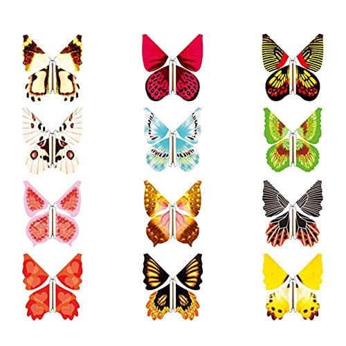 12 piezas de magia, mariposas voladoras de juguete de broma, juguete de...
