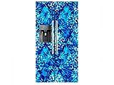 Vinilo Frigorífico Americano Damasco Azul | 91x179cm | Varias Medidas | Pegatinas de Nevera Económicas y Elegantes | Vinilo Nevera