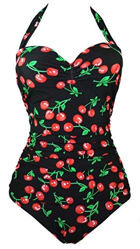 COCOSHIP 50s Retro Black Vintage Flattering Cherry Print One Piece Swimsuit Bathing Suit 2XL(US10)