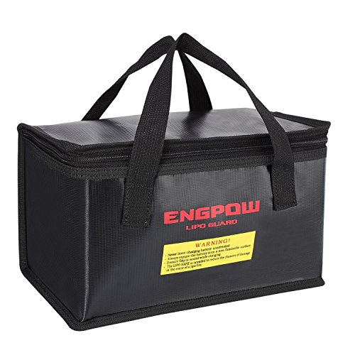 ENGPOW Fireproof Explosionproof Lipo Safe Bag for Lipo Battery Storage and Charging,Large Space Fire and Water Resistant Lipo Battery Guard with Double Zipper (260x130x150mm) (Black)